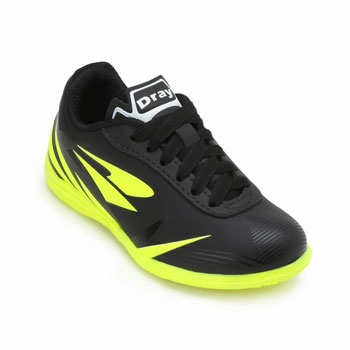 Chuteira Futsal Dray Indoor Infantil DR19-311CO Preto-Verde