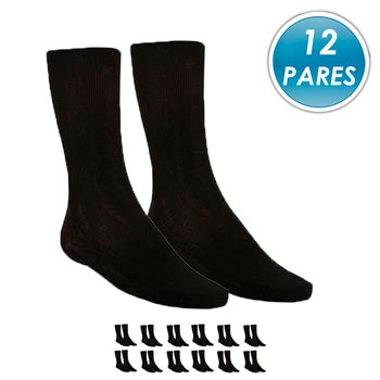 Kit 12 Pares Meia Social Top Fill Poliamida TF19 Preto